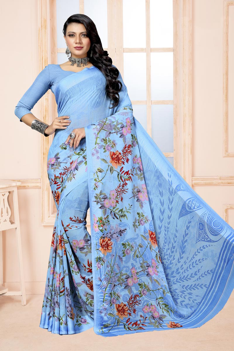 Sky Blue Color Chiffon Fabric Fancy Printed Daily Wear Saree