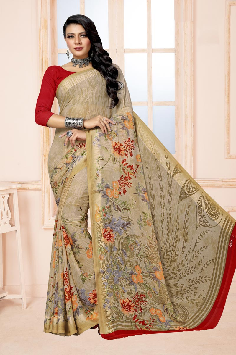 Cream Color Chiffon Fabric Regular Wear Fancy Printed Saree