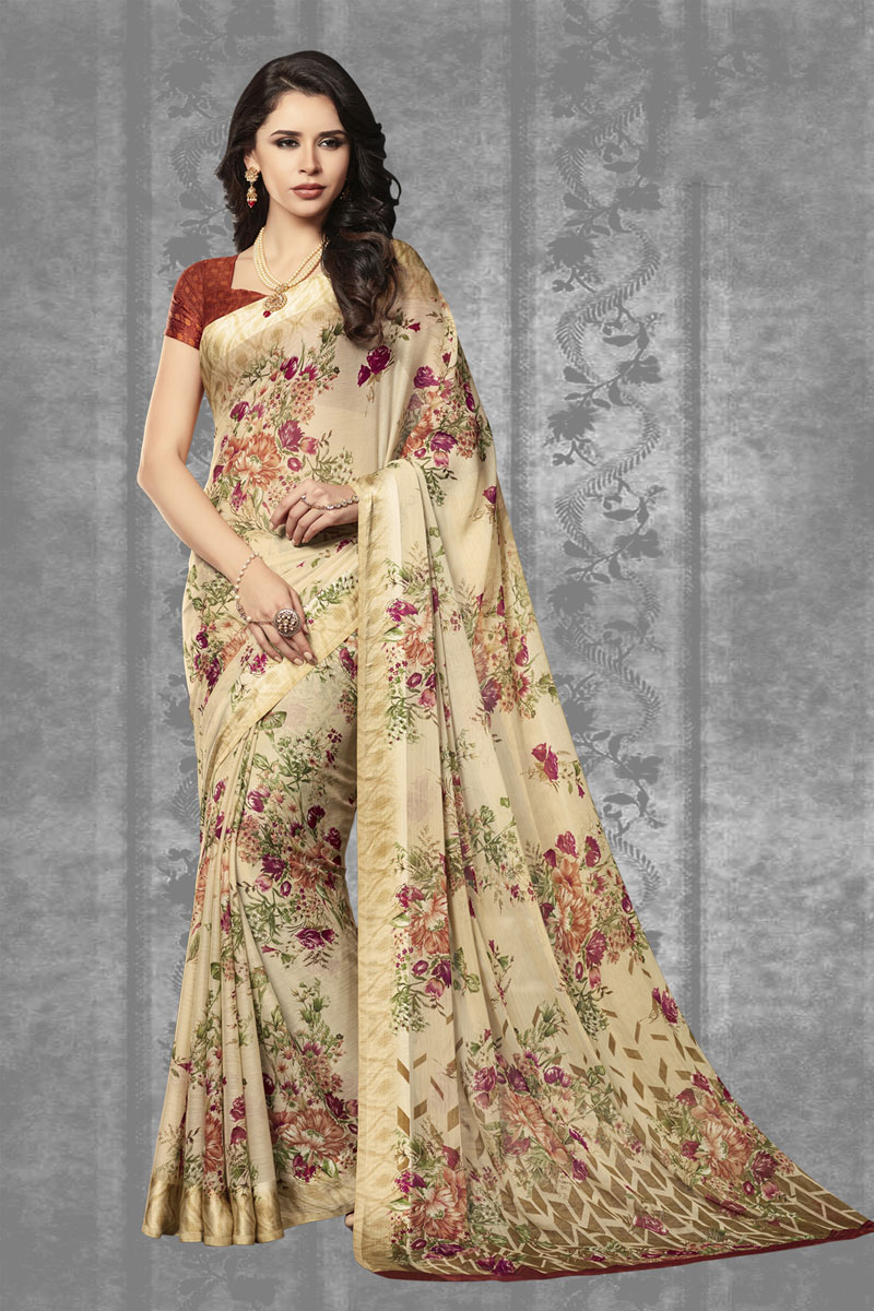 Beige Color Chiffon Fabric Fancy Printed Office Wear Saree