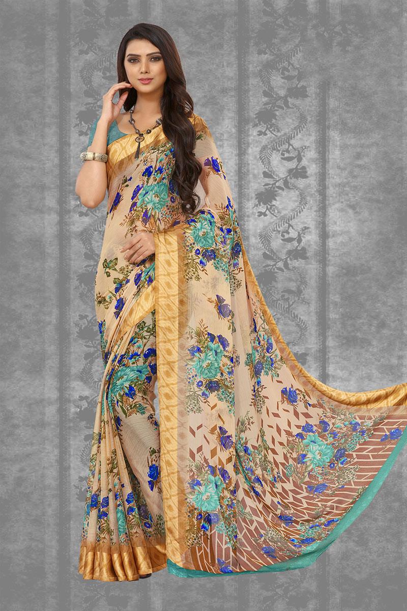 Chiffon Fabric Cream Color Daily Wear Fancy Saree