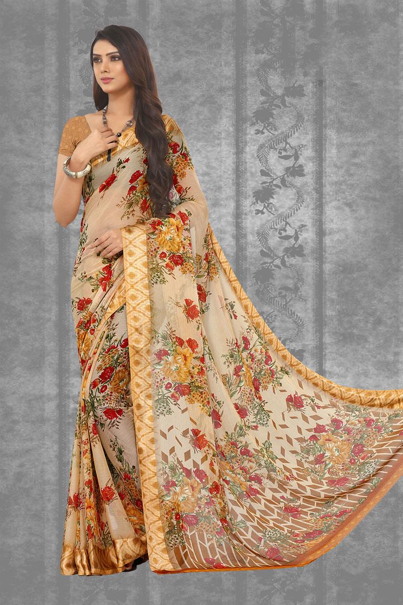 Cream Color Chiffon Fabric Occasion Wear Saree