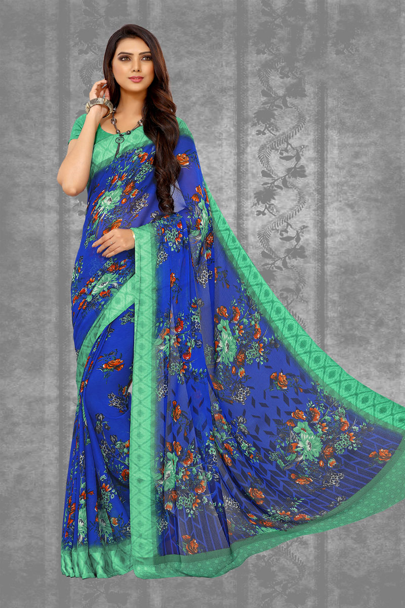 Fancy Blue Color Chiffon Fabric Daily Wear Printed Saree
