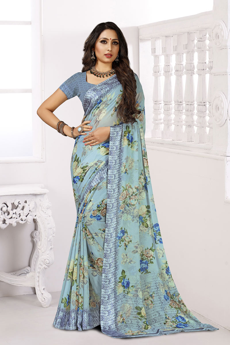 Sky Blue Color Casual Wear Printed Saree In Chiffon Fabric