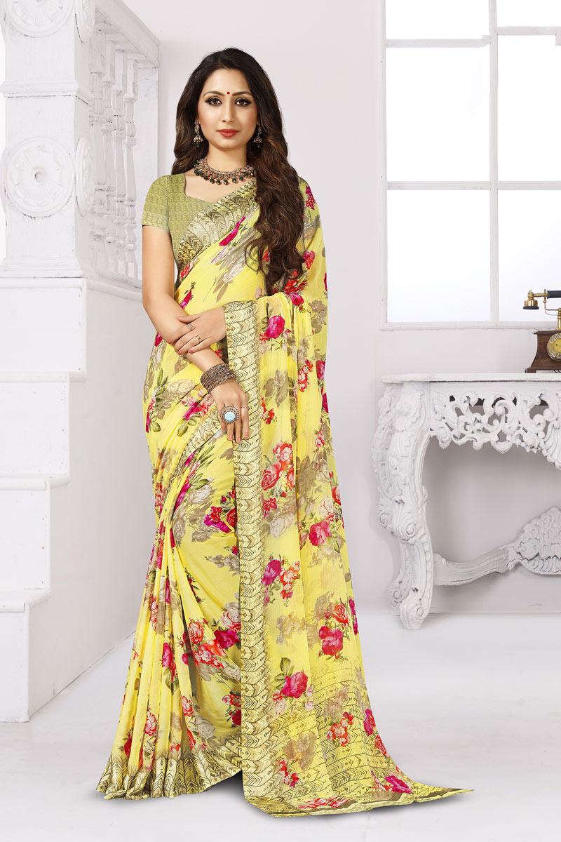 Printed Chiffon Fabric Office Wear Yellow Color Saree
