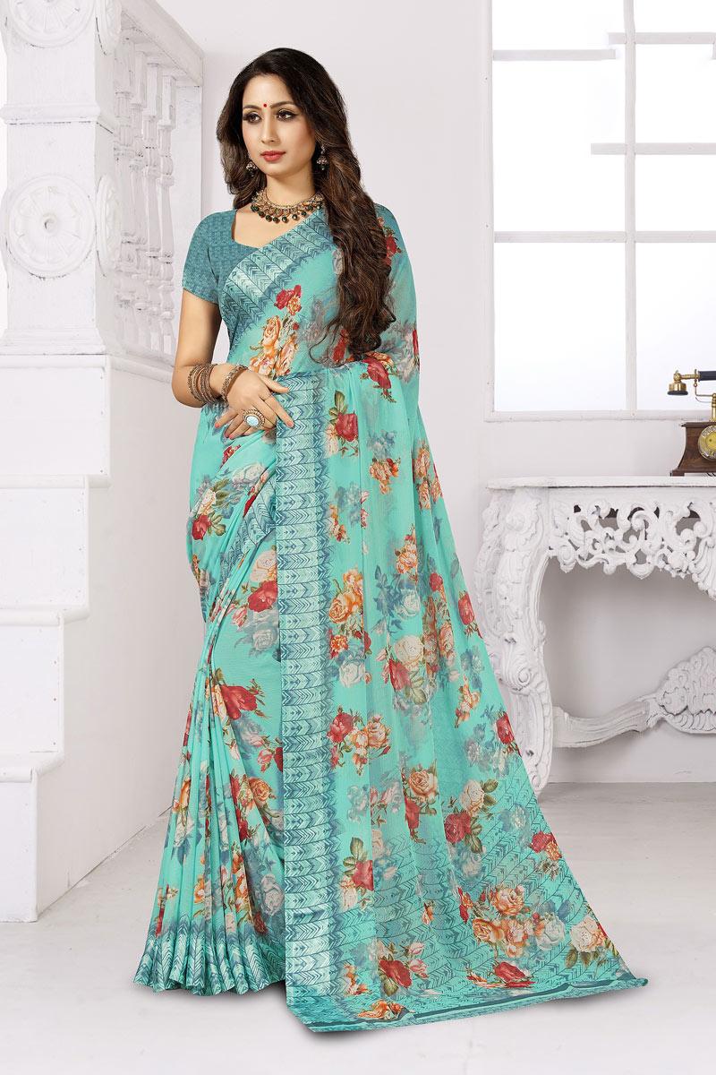 Daily Wear Printed Saree In Chiffon Fabric Cyan Color
