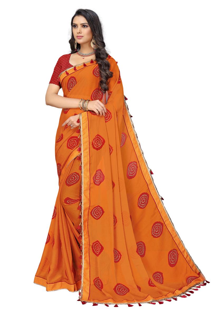 Orange Color Casual Printed Saree In Chiffon Fabric