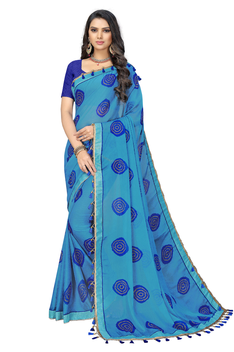 Printed Chiffon Fabric Fancy Saree In Sky Blue Color