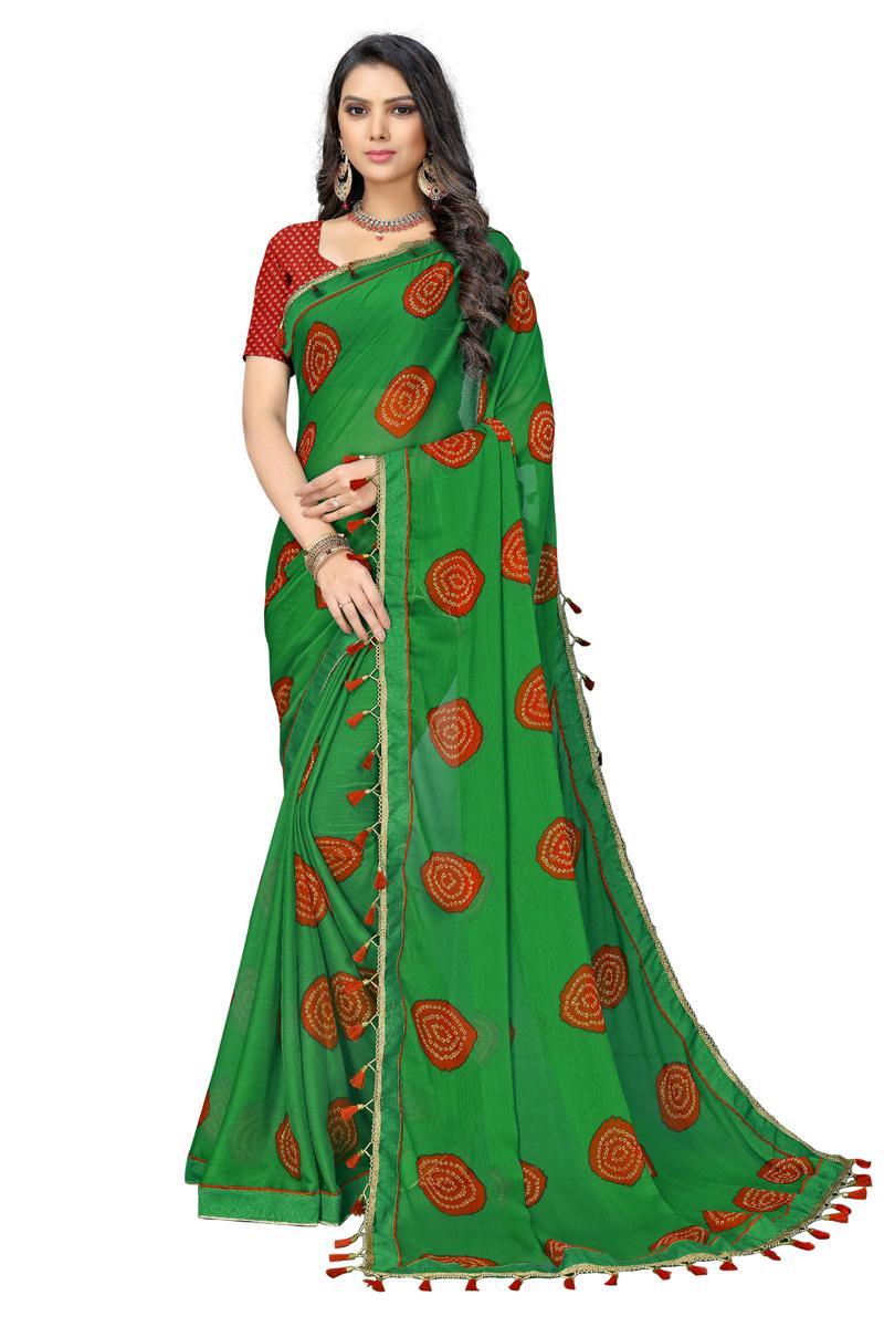 Fancy Chiffon Fabric Green Color Daily Wear Printed Saree