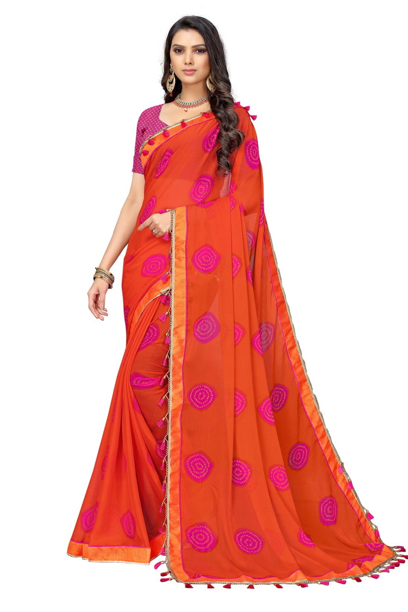 Fancy Chiffon Fabric Orange Color Printed Daily Wear Saree