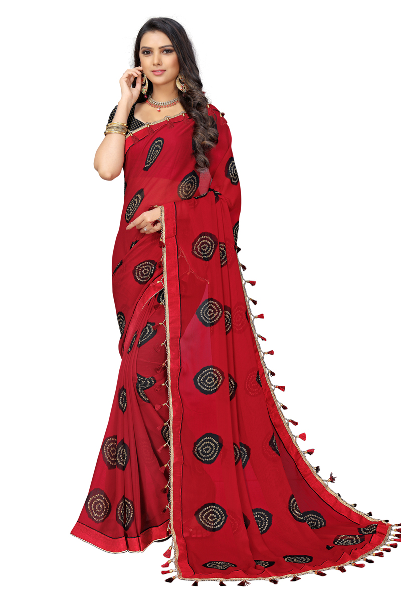 Chiffon Fabric Red Color Daily Wear Fancy Printed Saree