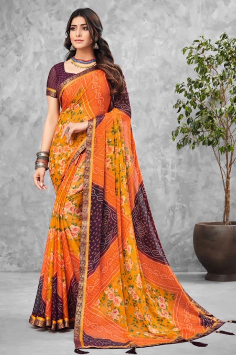 Orange Color Bandhani Type Printed Daily Wear Chiffon Fabric Saree