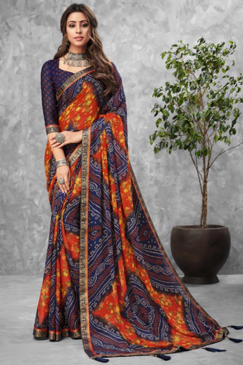 Chiffon Fabric Daily Wear Bandhani Type Printed Navy Blue Color Saree