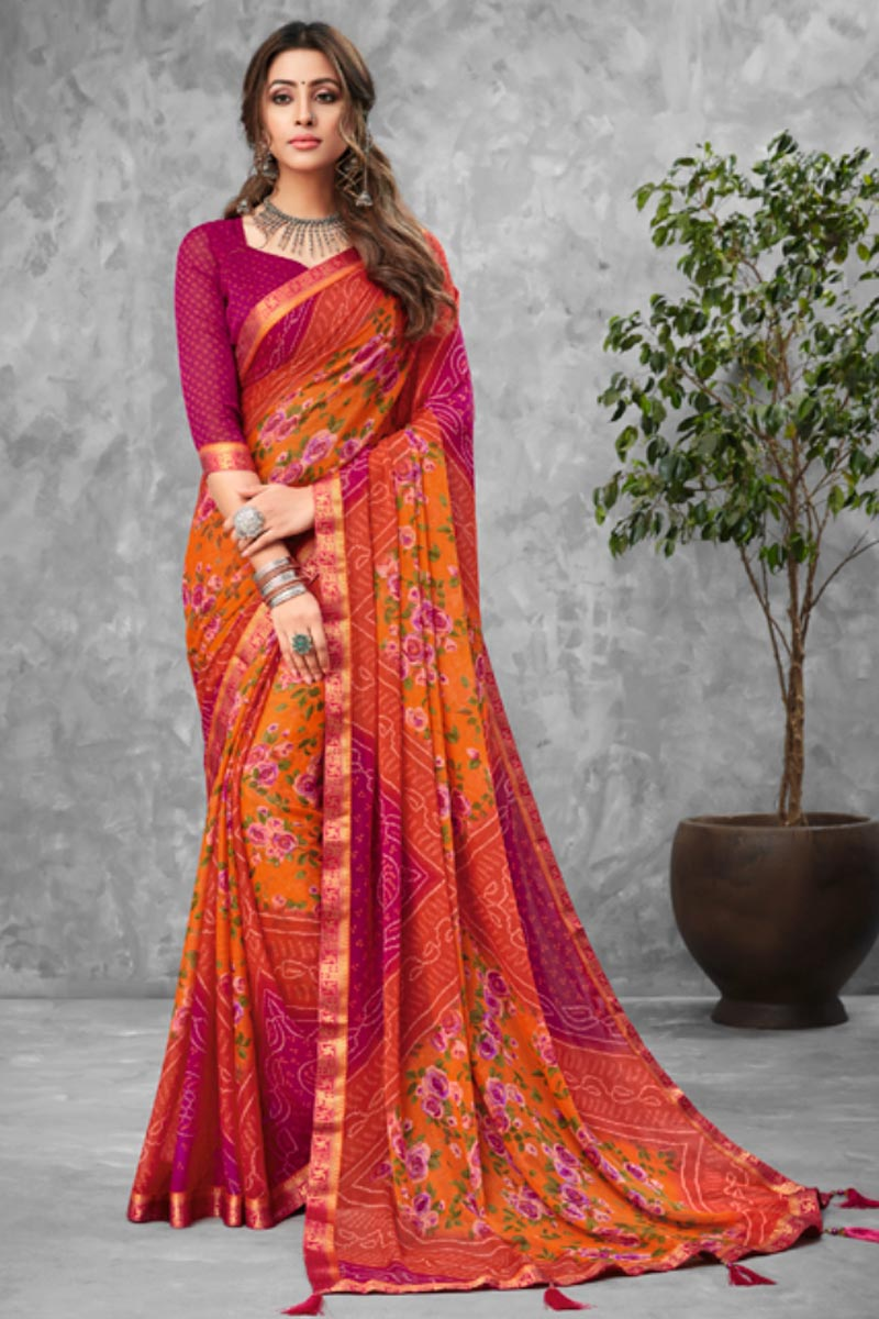 Chiffon Fabric Daily Wear Bandhani Type Printed Saree In Orange Color