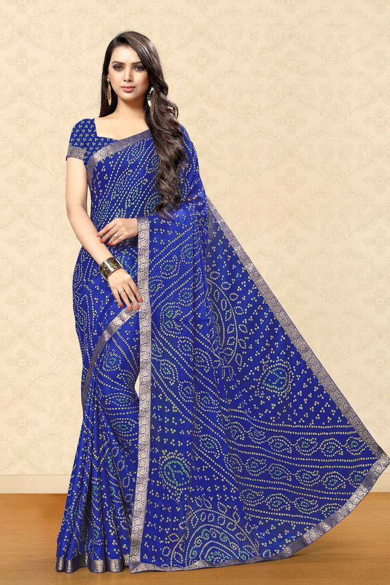 Blue Color Chiffon Fabric Fancy Bandhani Print Saree