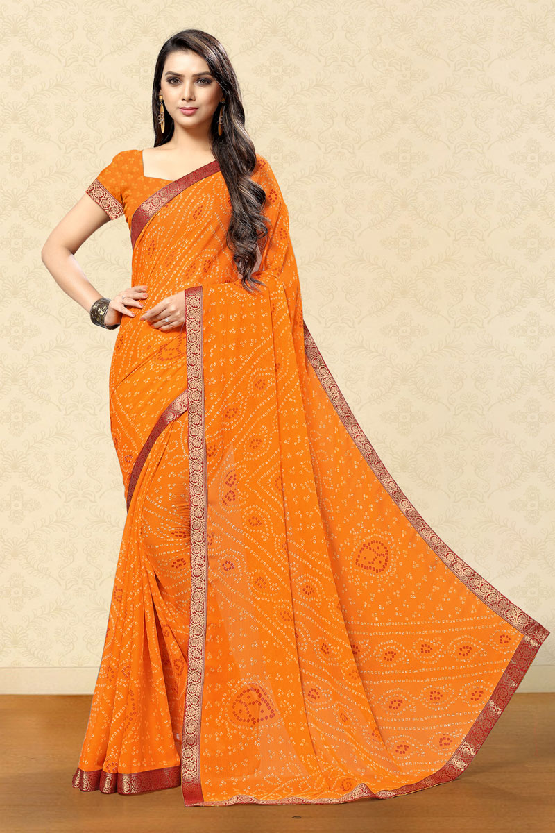 Orange Color Bandhani Print Chiffon Fabric Saree