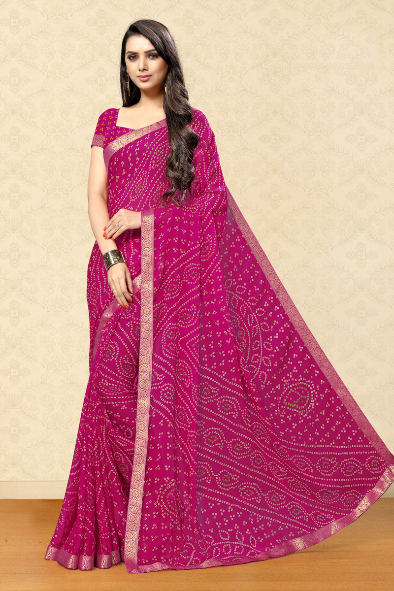 Festive Wear Fancy Bandhani Print Saree In Chiffon Fabric Dark Pink Color
