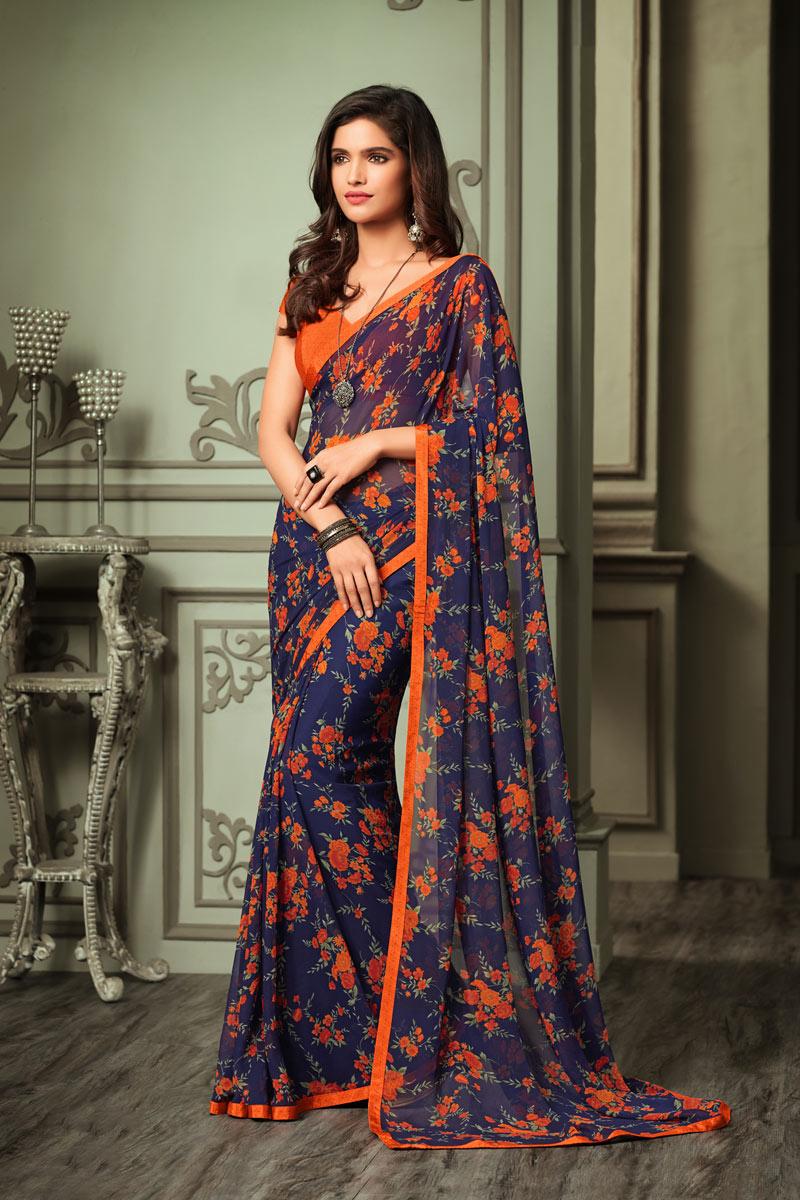 Fancy Georgette Fabric Printed Orange Color Saree