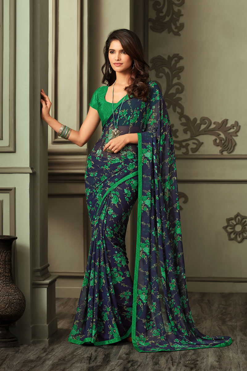 Printed Office Wear Saree In Georgette Fabric Green Color