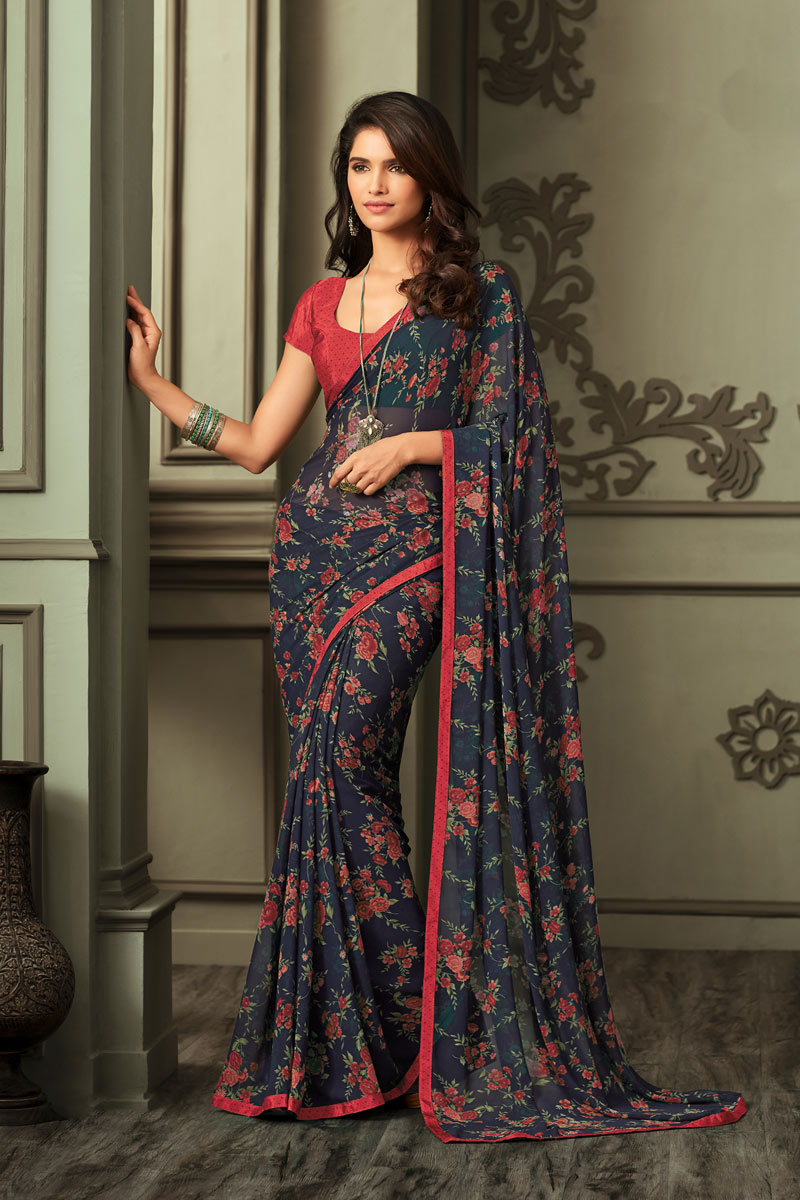 Red Color Daily Wear Printed Saree In Georgette Fabric
