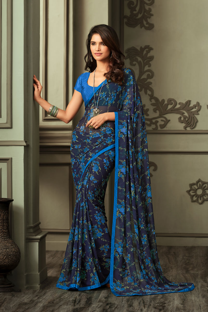 Blue Color Casual Printed Saree In Georgette Fabric