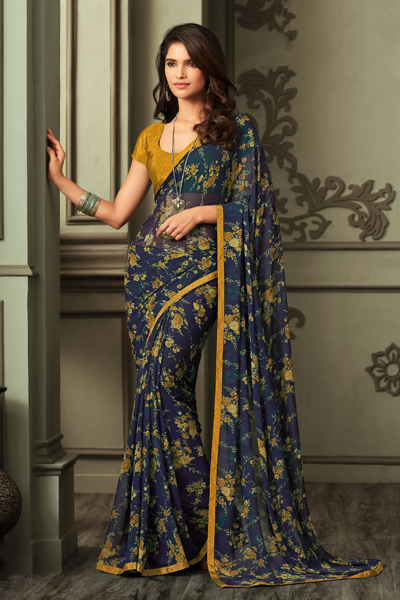Mustard Color Georgette Fabric Daily Wear Printed Saree
