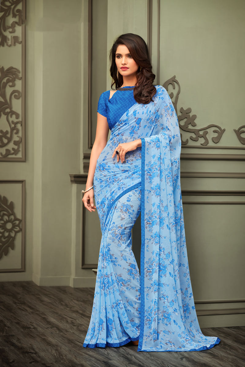 Regular Wear Georgette Fabric Floral Printed Saree In Sky Blue Color