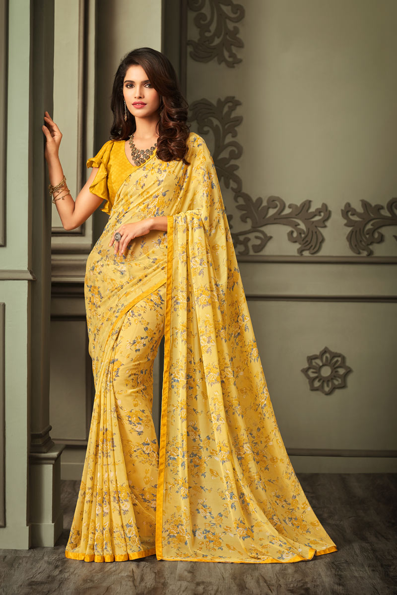 Yellow Color Georgette Fabric Regular Wear Floral Printed Saree