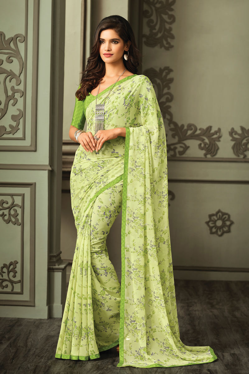 Georgette Fabric Regular Wear Green Color Floral Printed Saree