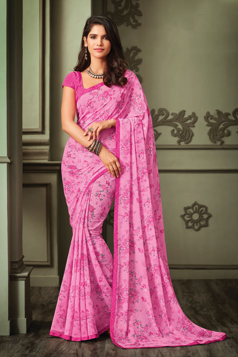 Pink Color Georgette Fabric Regular Wear Floral Printed Saree