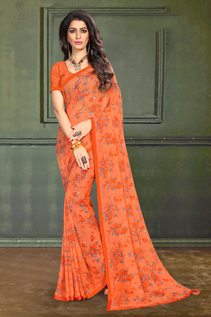 Regular Wear Orange Color Floral Printed Saree In Georgette Fabric