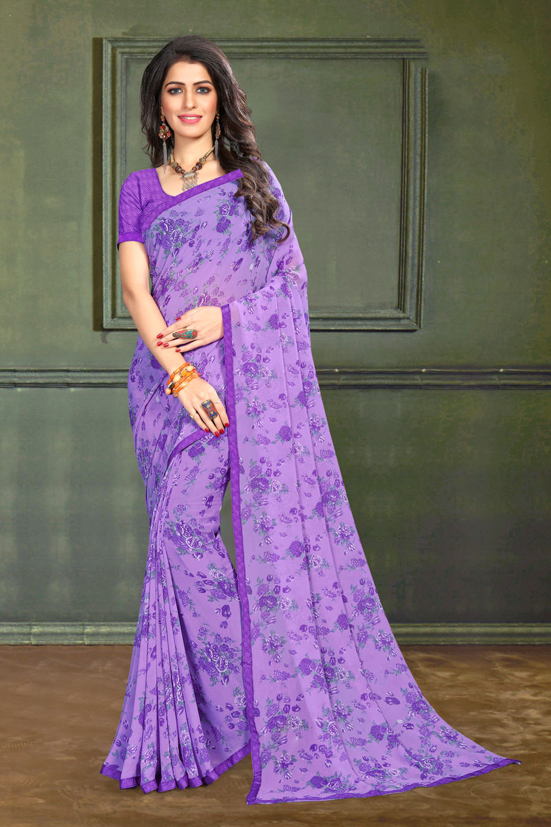Georgette Fabric Lavender Color Regular Wear Floral Printed Saree