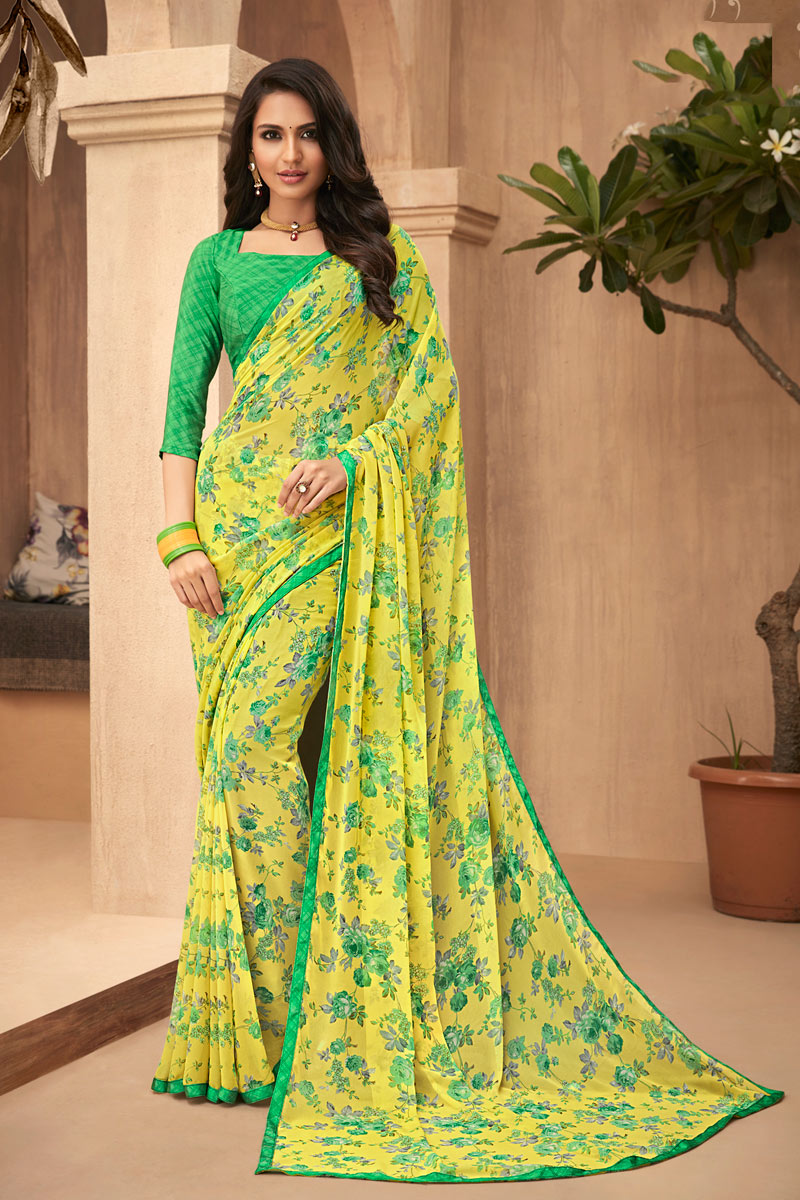 Georgette Fabric Printed Designs On Yellow Color Office Wear Saree
