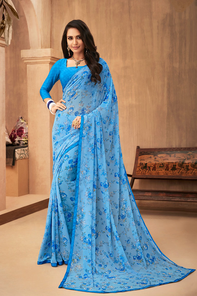 Printed Blue Color Georgette Fabric Casual Wear Saree