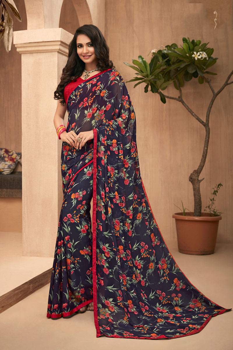 Blue Color Georgette Fabric Function Wear Printed Saree