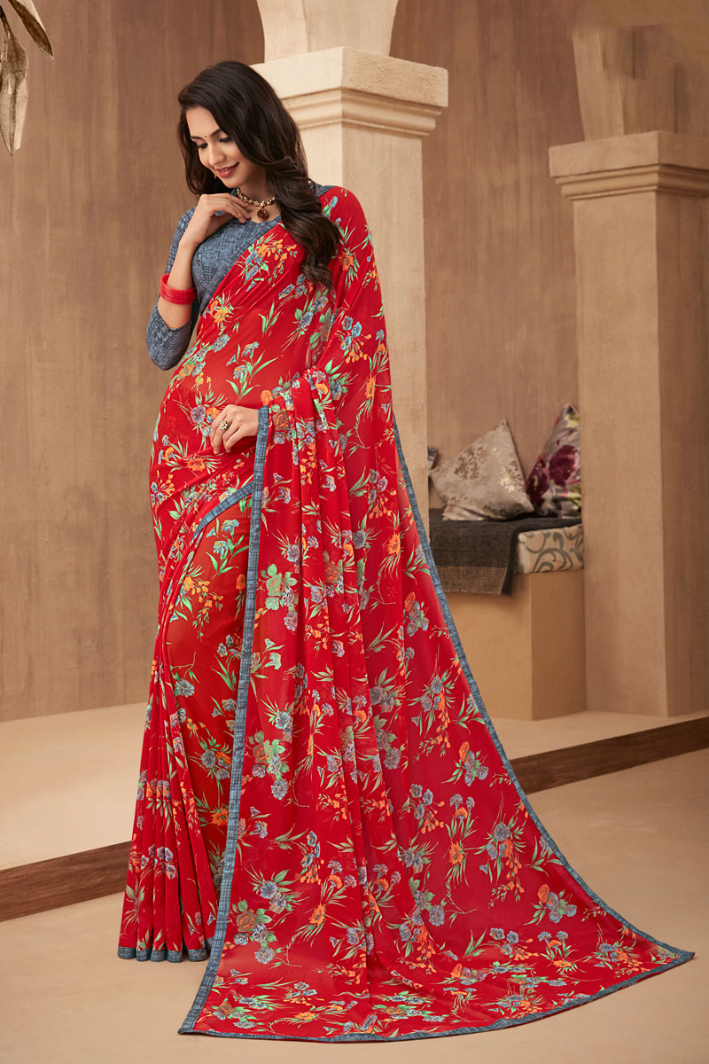Georgette Fabric Red Color Printed Festive Saree