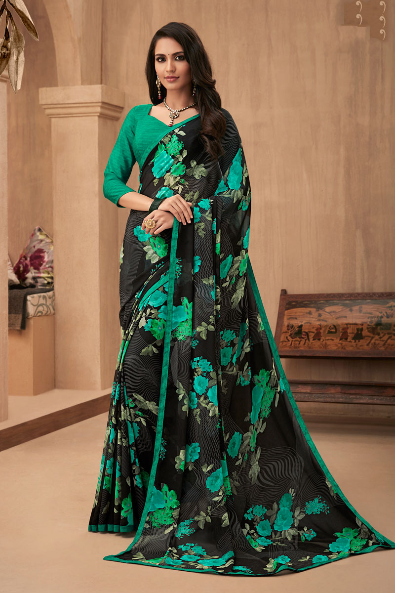 Fancy Printed Daily Wear Saree In Black Color