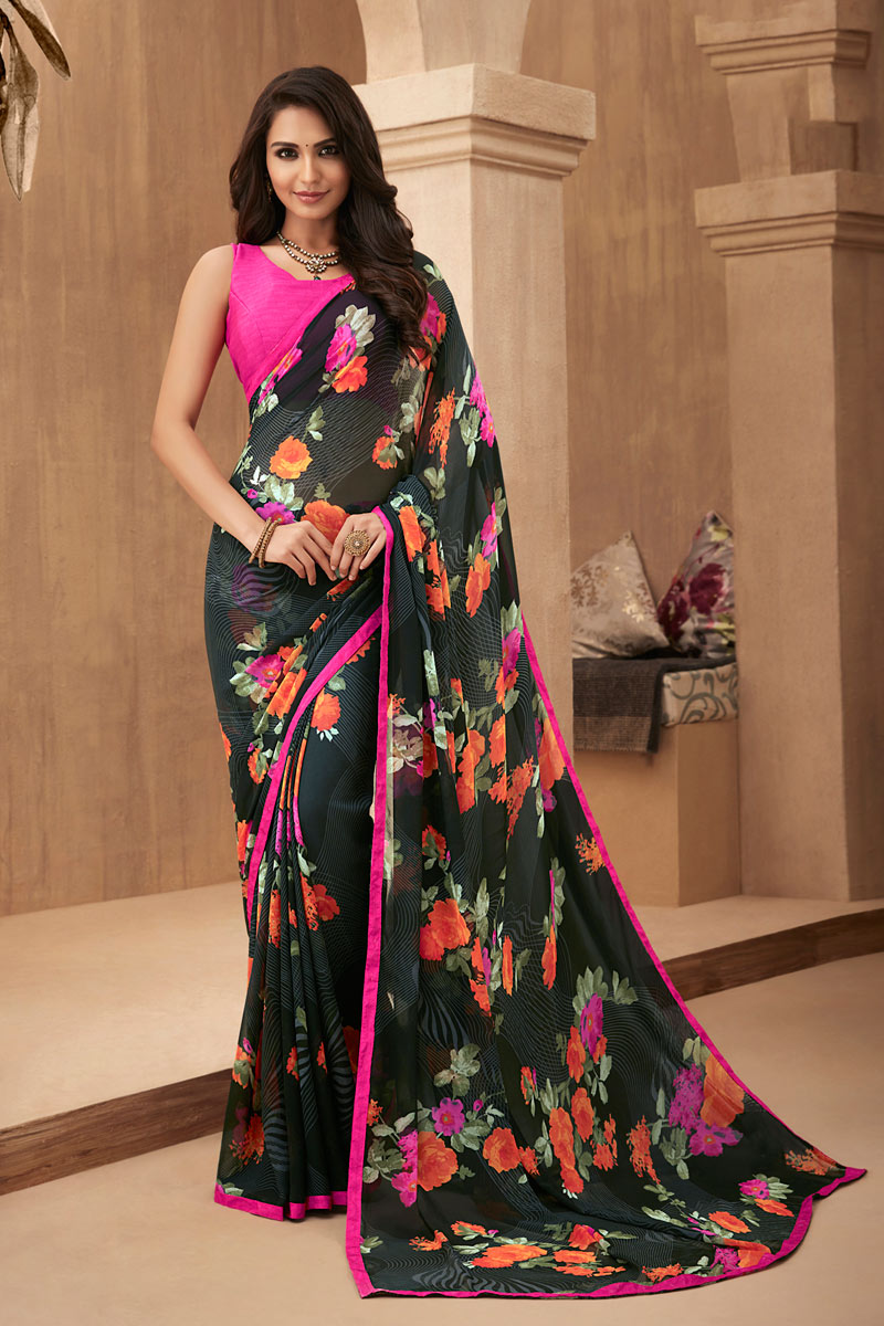 Black Color Georgette Fabric Printed Daily Wear Saree