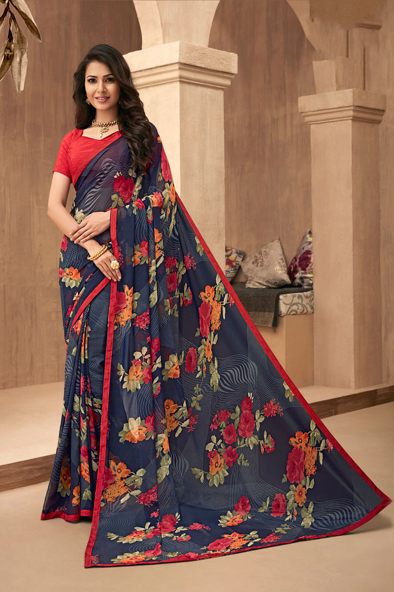 Printed Daily Wear Saree In Georgette Fabric Blue Color