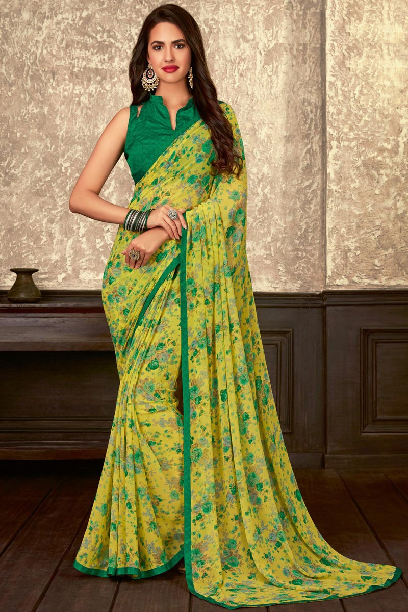 Georgette Fabric Fancy Regular Wear Yellow Floral Printed Saree