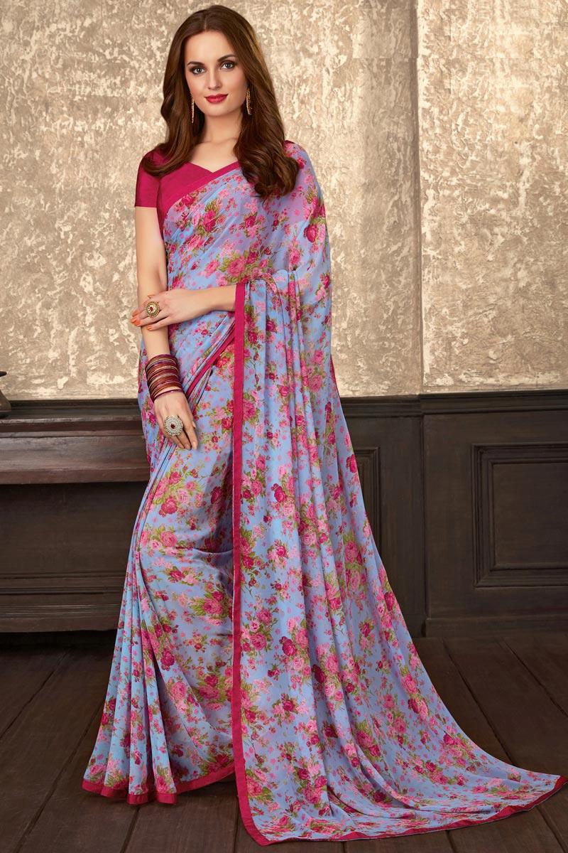 Fancy Lavender Color Georgette Fabric Regular Wear Floral Printed Saree