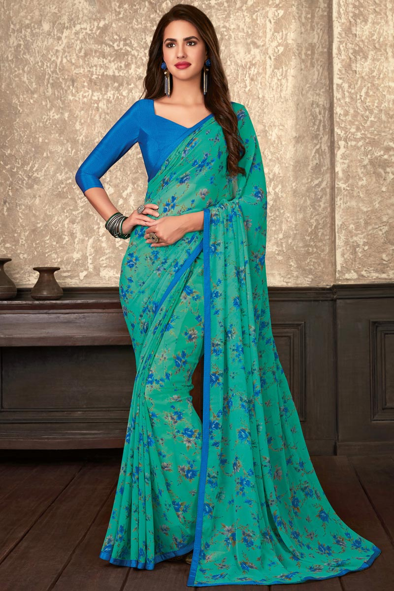 Fancy Georgette Fabric Regular Wear Cyan Floral Printed Saree