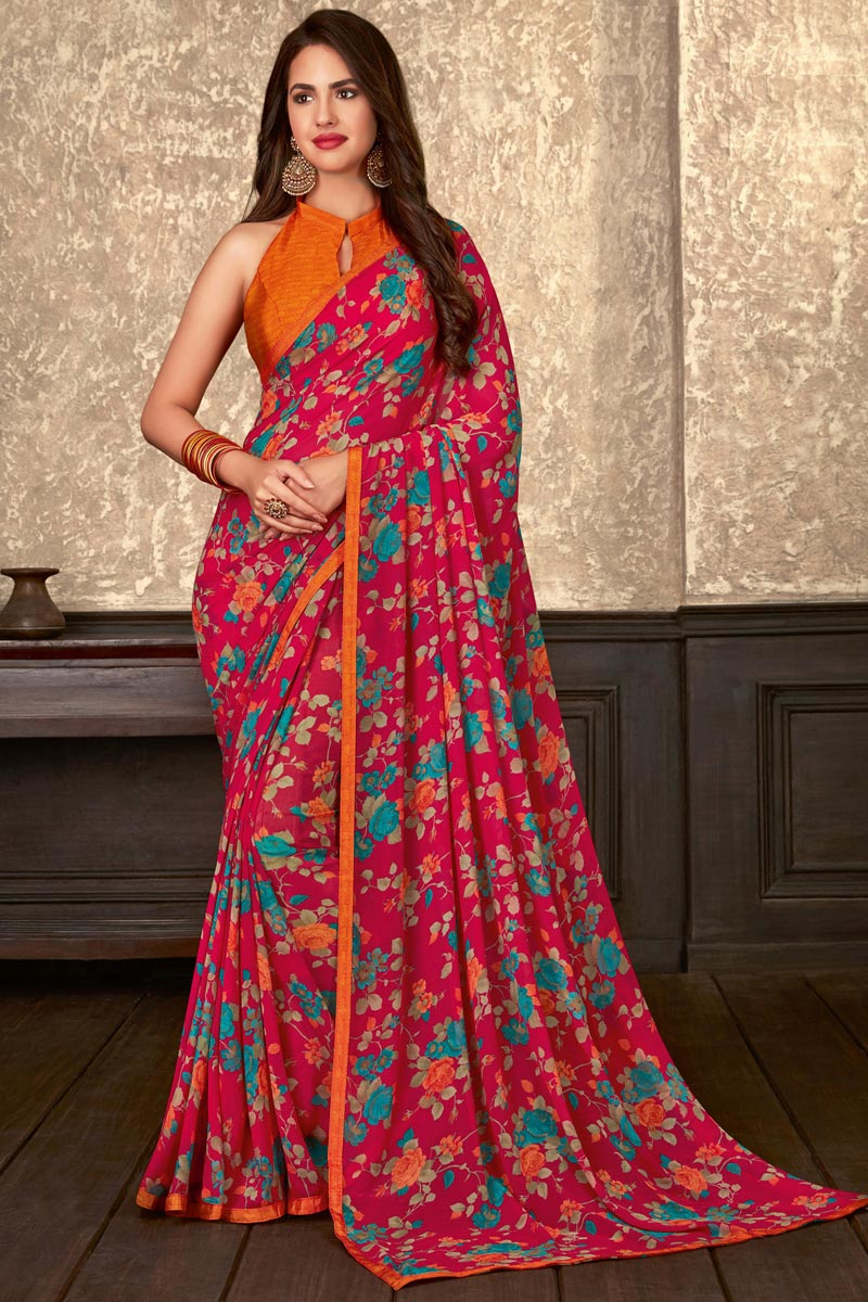 Fancy Pink Georgette Fabric Daily Wear Floral Printed Saree