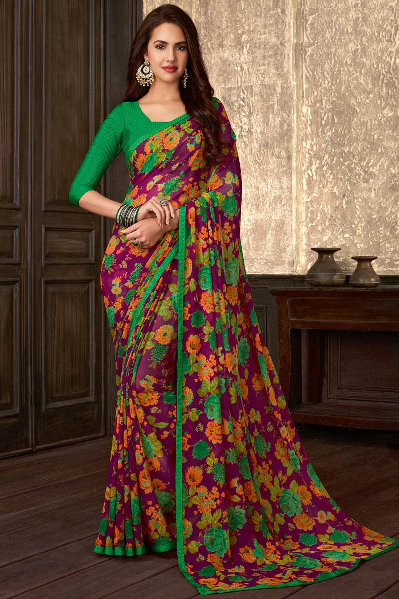 Fancy Daily Wear Purple Georgette Fabric Floral Printed Saree
