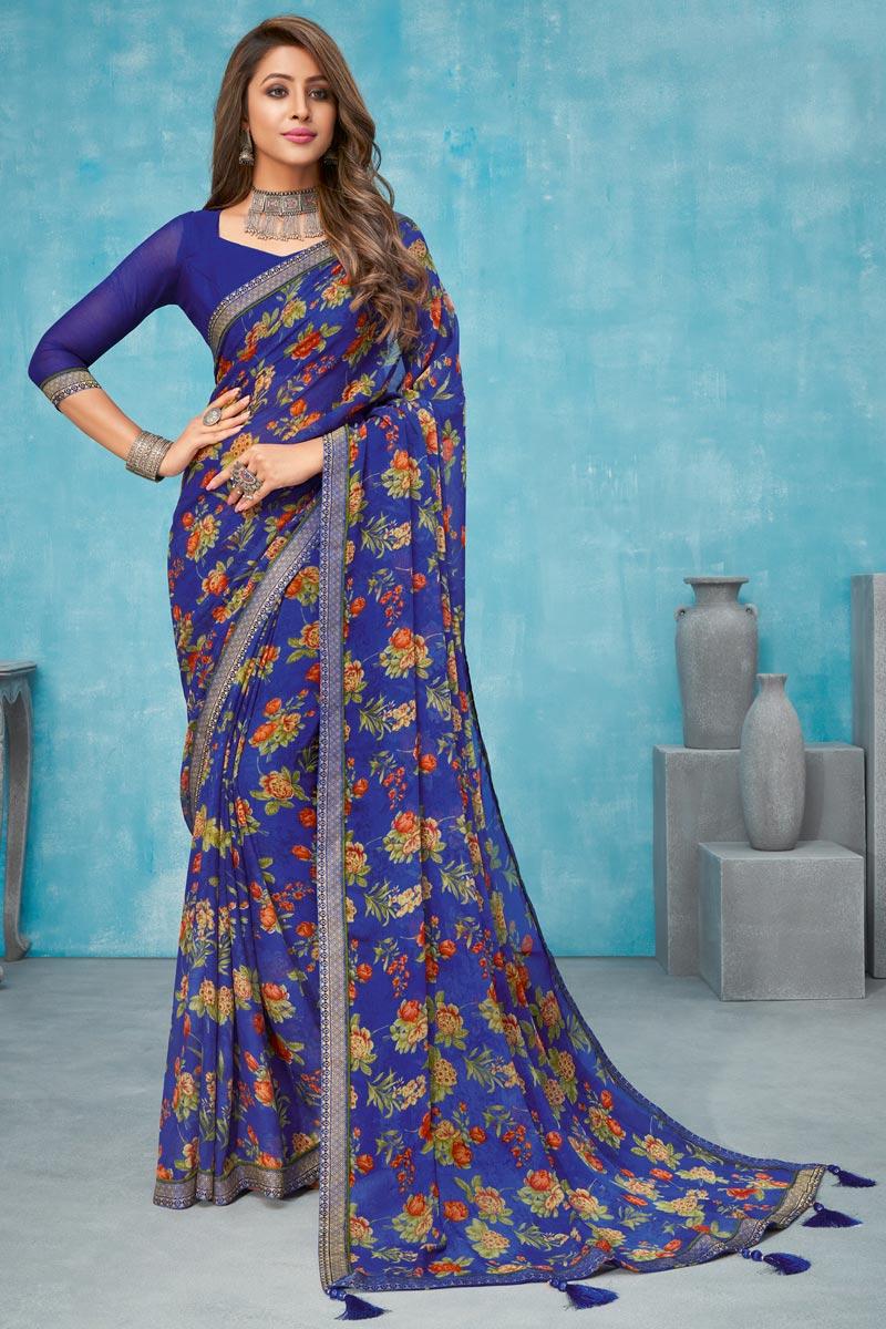 Chiffon Fabric Floral Printed Regular Wear Blue Color Saree