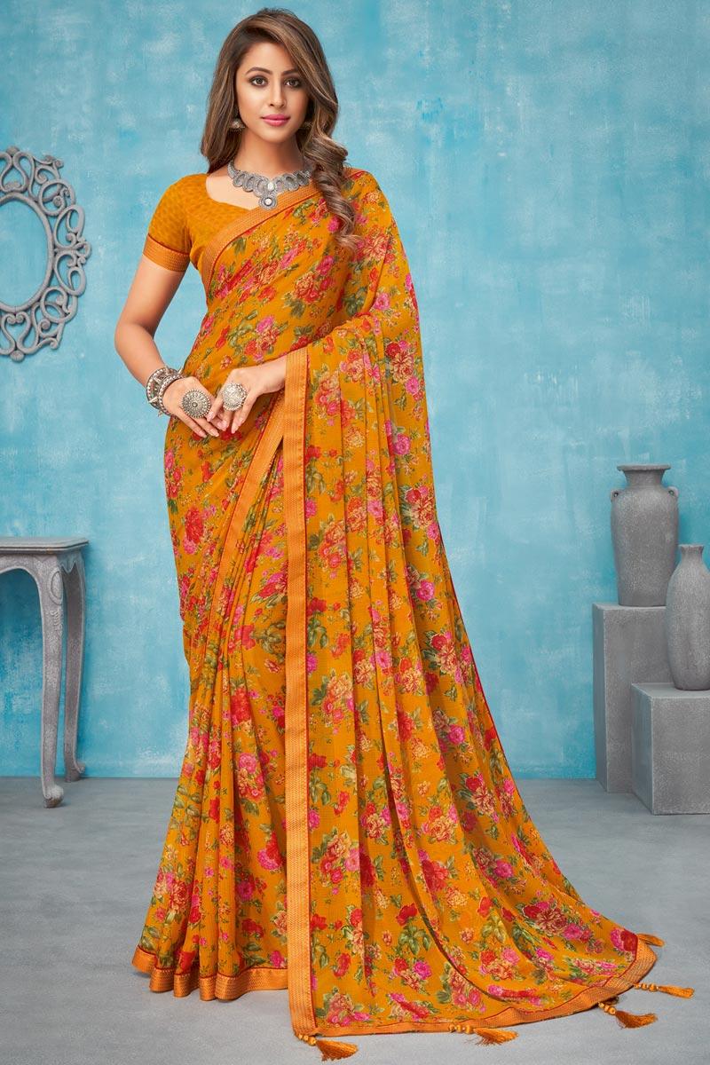 Chiffon Fabric Regular Wear Floral Printed Mustard Color Saree