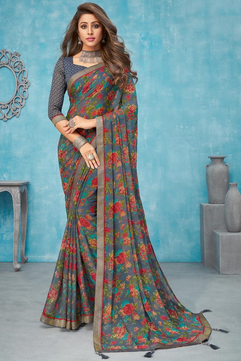 Grey Color Regular Wear Chiffon Fabric Floral Printed Saree