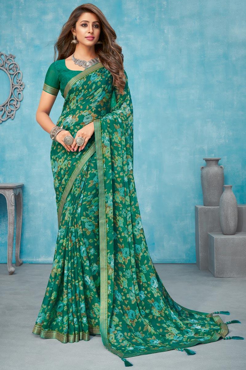 Chiffon Fabric Green Color Floral Printed Regular Wear Saree