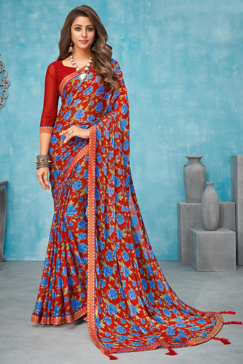 Regular Wear Red Color Floral Printed Saree In Chiffon Fabric