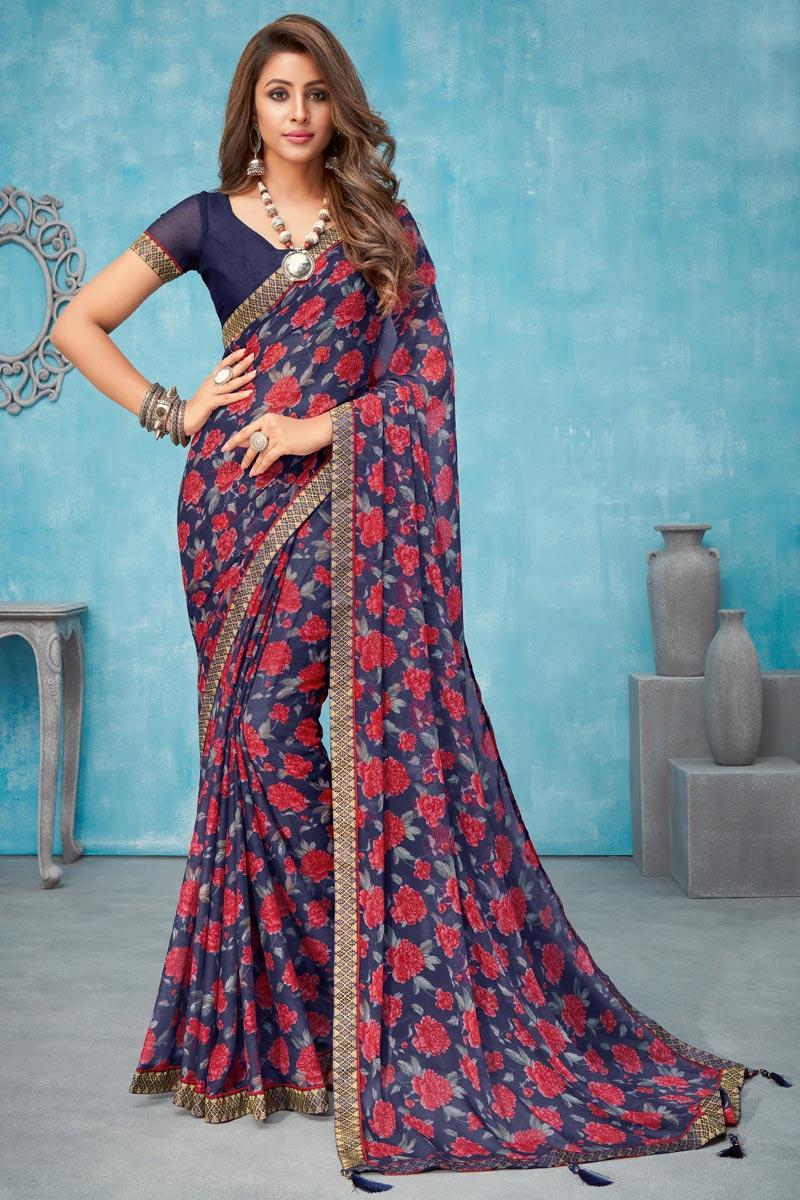 Navy Blue Color Chiffon Fabric Regular Wear Floral Printed Saree