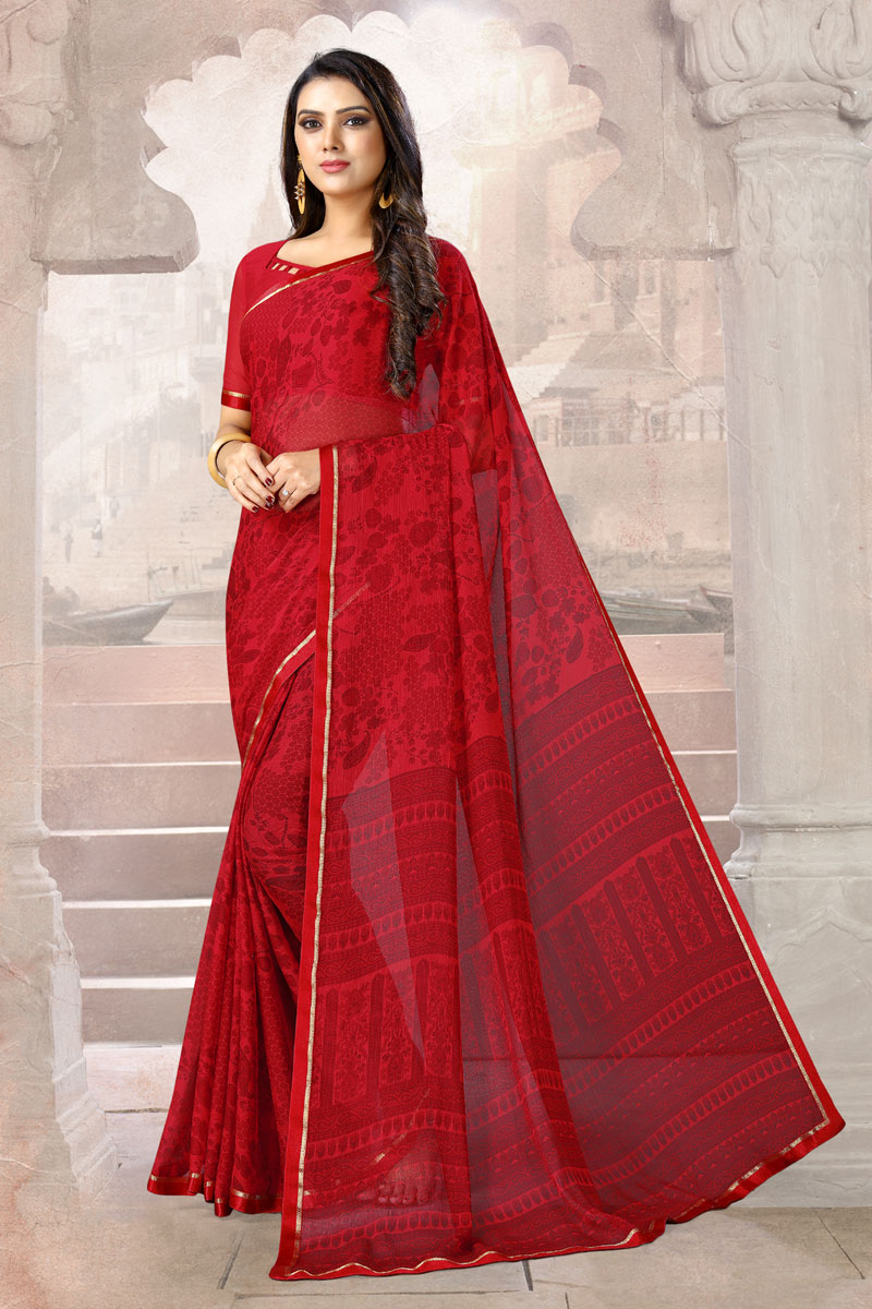 Red Color Printed Daily Wear Chiffon Fabric Uniform Saree With Blouse